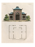 Oriental garden room and plan Giclee Print by Johann Gottfried Grohmann