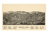 1889, Bristol Bird's Eye View, Connecticut, United States Giclee Print
