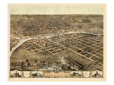 1868, Des Moines Bird's Eye View, Iowa, United States Giclee Print