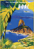 Fly to South America by BOAC Print van Frank Wootton