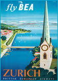 Fly British European Airways to Zurich Poster par Daphne Padden