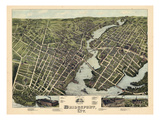 1875, Bridgeport Bird's Eye View, Connecticut, United States Giclee Print