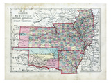 1873, Illinois, Missouri, Kansas, Arkansas, Indian Territory, United States Giclee Print