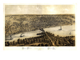 1867, Peoria Bird's Eye View, Illinois, United States Giclee Print