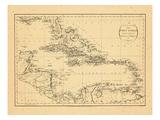1794, West Indies, Caribbean Impressão giclée