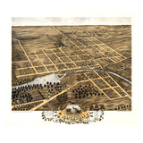1869, Naperville Bird's Eye View, Illinois, United States Giclee Print