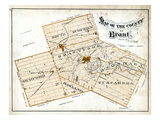 1879, Brant County Map, Canada Giclee Print