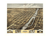 1869, Geneva Bird's Eye View, Illinois, United States Giclee Print