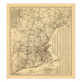 1910, New England, Connecticut, Maine, Massachusetts, Rhode Island Giclee Print