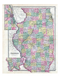 1892, State Map, Illinois, United States Giclee Print