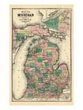 1881, Michigan State Map, Wisconsin, United States Reproduction procédé giclée