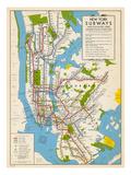 1949, New York Subway Map, New York, United States - Giclee Baskı