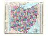 1874, Ohio State Map, Ohio, United States Giclee Print