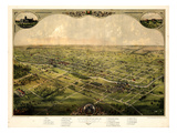 1866, Lansing Bird's Eye View, Michigan, United States Giclee Print