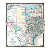 1875, Texas and Indian Territory Map, United States Giclee Print