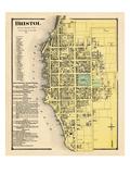1870, Landkarte von Bristol Gemeinde, Rhode Island, Vereinigte Staaten, USA Giclée-Druck