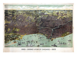 1893, Chicago Bird's Eye View, Illinois, United States Giclee Print