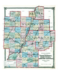 1875, Putnam, Marshall, Stark, Peoria, Woodford, and Tazewell Counties Map, Illinois, United States Giclee Print