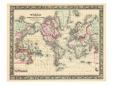 1864, World, World Map Reproduction procédé giclée