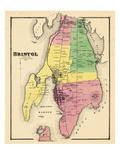 1870, Landkarte von Bristol, Rhode Island, Vereinigte Staaten, USA Giclée-Druck