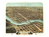 1869, Kankakee Bird's Eye View, Illinois, United States Giclee Print