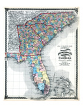 1875, North Carolina, South Carolina, Georgia, and Florida States Map, United States Giclee Print