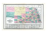 1881, Nebraska State Map, United States Giclee Print