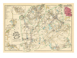 1898, Auburn, Millbury, Oxford and Sutton Towns, Elm Hill, Auburn Center, Massachusetts, USA Giclee Print