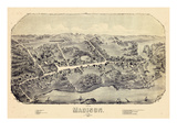 1881, Madison Bird's Eye View, Connecticut, United States Giclee Print