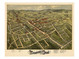 1875, Danbury Bird's Eye View, Connecticut, United States Giclee Print