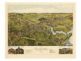 1881, Clinton Bird's Eye View, Connecticut, United States Giclee Print