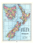 1898, New Zealand, Tansania, New Zealand and Tasmania Giclee Print