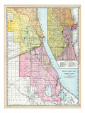 1895, Chicago Railroad Terminal Map 1895, Illinois, United States Giclee Print
