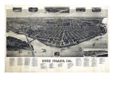 1889, Rock Island Bird's Eye View, Illinois, United States Giclee Print