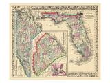 1864, Landkarte von North Carolina, South Carolina, Florida, Vereinigte Staaten, USA Giclée-Druck