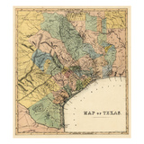 1840s, Texas State Map, Texas, United States Giclee Print