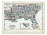 1873, South Carolina, Georgia, Florida, Alabama, Mississippi, Louisiana, USA Giclée-Druck