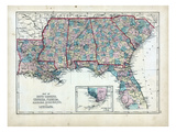 1873, South Carolina, Georgia, Florida, Alabama, Mississippi, Louisiana, USA Giclee Print