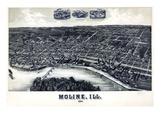 1889, Moline Bird's Eye View, Illinois, United States Giclee Print