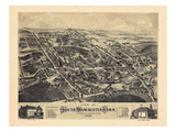 1880, South Manchester Bird's Eye View, Connecticut, United States Giclee Print