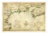 1607, Nova Scotia, Maine, Massachusetts, New Hampshire, North America, Cape Cod to Nova Scotia Giclee Print