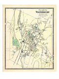 1868, Waterbury City Plan, Connecticut, United States Giclee Print