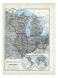 1873, Ohio, Indiana, Illinois, Wisconsin, Michigan, USA Reproduction procédé giclée
