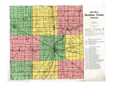 1922, Hamilton County Outline Map, Indiana, United States Reproduction procédé giclée