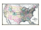 1875, United States Railroad Map, United States Giclee Print