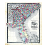 1876, County Map of North Carolina, South Carolina, Georgia and Florida, Missouri, United States Giclee Print