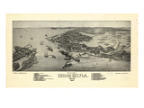 1884, Cedar Key Bird's Eye View, Florida, United States Giclee Print