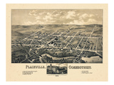 1878, Plainville Bird's Eye View, Connecticut, United States Giclee Print