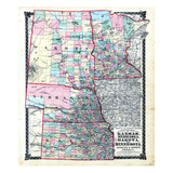 1876, County Map of Kansas, Nebraska, Dakota and Minnesota, Missouri, United States Giclee Print
