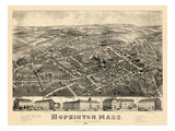 1880, Hopkinton Bird's Eye View, Massachusetts, United States Giclee Print